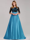 Women Lace Round Neck Formal Evening Dress-Sky Blue 4