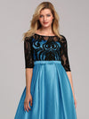 Women Lace Round Neck Formal Evening Dress-Sky Blue 5