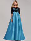 Women Lace Round Neck Formal Evening Dress-Sky Blue 1