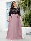 Plus Size Women Lace Round Neck Formal Evening Dress-Mauve 1