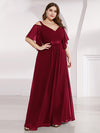 Women'S Off Shoulder Floor Length Bridesmaid Dress With Ruffle Sleeves-Burgundy 3
