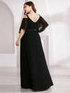 Women'S Off Shoulder Floor Length Bridesmaid Dress With Ruffle Sleeves-Black  7