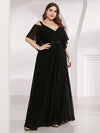 Women'S Off Shoulder Floor Length Bridesmaid Dress With Ruffle Sleeves-Black  8