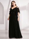 Women'S Off Shoulder Floor Length Bridesmaid Dress With Ruffle Sleeves-Black 9