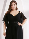 Women'S Off Shoulder Floor Length Bridesmaid Dress With Ruffle Sleeves-Black 10