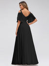 Women'S Off Shoulder Floor Length Bridesmaid Dress With Ruffle Sleeves-Black 2