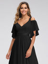 Women'S Off Shoulder Floor Length Bridesmaid Dress With Ruffle Sleeves-Black 5