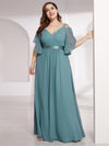 Women'S Off Shoulder Floor Length Bridesmaid Dress With Ruffle Sleeves-Dusty Blue  9