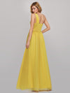 Women'S A-Line One Shoulder High Slit Bridesmaid Dress-Yellow 2