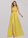 Women'S A-Line One Shoulder High Slit Bridesmaid Dress-Yellow 4