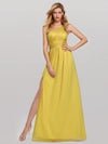 Women'S A-Line One Shoulder High Slit Bridesmaid Dress-Yellow 1