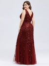 Women'S Double V-Neck Plus Size Fishtail Seuqin Evening Maxi Dress-Burgundy 2