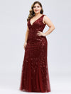 Women'S Double V-Neck Plus Size Fishtail Seuqin Evening Maxi Dress-Burgundy 3