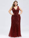 Women'S Double V-Neck Plus Size Fishtail Seuqin Evening Maxi Dress-Burgundy 4