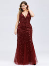 Women'S Double V-Neck Plus Size Fishtail Seuqin Evening Maxi Dress-Burgundy 1