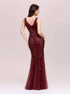 Women'S Double V-Neck Fishtail Seuqin Evening Maxi Dress-Burgundy 4