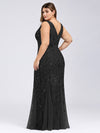 Women'S Double V-Neck Plus Size Fishtail Seuqin Evening Maxi Dress-Black 2