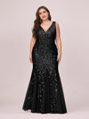 Women'S Double V-Neck Fishtail Seuqin Evening Maxi Dress-Black 4