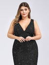 Women'S Double V-Neck Plus Size Fishtail Seuqin Evening Maxi Dress-Black 5