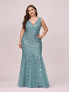 Women'S Double V-Neck Fishtail Seuqin Evening Maxi Dress-Dusty Blue 4