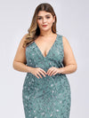 Women'S Double V-Neck Plus Size Fishtail Seuqin Evening Maxi Dress-Dusty Blue 5