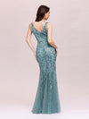 Women'S Double V-Neck Fishtail Seuqin Evening Maxi Dress-Dusty Blue 2