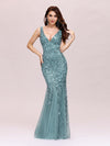 Women'S Double V-Neck Fishtail Seuqin Evening Maxi Dress-Dusty Blue 1