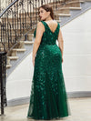 Women'S Double V-Neck Plus Size Fishtail Seuqin Evening Maxi Dress-Dark Green 2