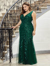 Women'S Double V-Neck Plus Size Fishtail Seuqin Evening Maxi Dress-Dark Green 3