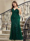 Women'S Double V-Neck Plus Size Fishtail Seuqin Evening Maxi Dress-Dark Green 4