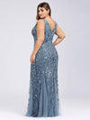 Women'S Double V-Neck Plus Size Fishtail Seuqin Evening Maxi Dress-Dusty Navy 2
