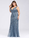 Women'S Double V-Neck Plus Size Fishtail Seuqin Evening Maxi Dress-Dusty Navy 3