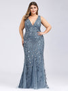 Women'S Double V-Neck Plus Size Fishtail Seuqin Evening Maxi Dress-Dusty Navy 4