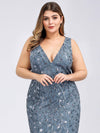 Women'S Double V-Neck Plus Size Fishtail Seuqin Evening Maxi Dress-Dusty Navy 5