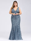 Women'S Double V-Neck Plus Size Fishtail Seuqin Evening Maxi Dress-Dusty Navy 1