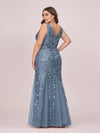 Women'S Double V-Neck Fishtail Seuqin Evening Maxi Dress-Dusty Navy 5