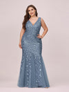 Women'S Double V-Neck Fishtail Seuqin Evening Maxi Dress-Dusty Navy 4