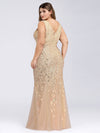 Women'S Double V-Neck Plus Size Fishtail Seuqin Evening Maxi Dress-Gold 2