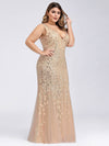 Women'S Double V-Neck Plus Size Fishtail Seuqin Evening Maxi Dress-Gold 3