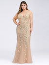 Women'S Double V-Neck Plus Size Fishtail Seuqin Evening Maxi Dress-Gold 4