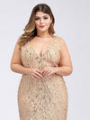 Women'S Double V-Neck Plus Size Fishtail Seuqin Evening Maxi Dress-Gold 5