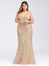 Women'S Double V-Neck Plus Size Fishtail Seuqin Evening Maxi Dress-Gold 1