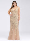 Women'S Double V-Neck Fishtail Seuqin Evening Maxi Dress-Gold 4