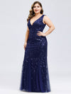 Women'S Double V-Neck Plus Size Fishtail Seuqin Evening Maxi Dress-Navy Blue 3