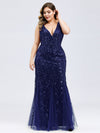 Women'S Double V-Neck Plus Size Fishtail Seuqin Evening Maxi Dress-Navy Blue 4
