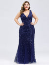 Women'S Double V-Neck Plus Size Fishtail Seuqin Evening Maxi Dress-Navy Blue 1
