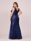 Women'S Double V-Neck Fishtail Seuqin Evening Maxi Dress-Navy Blue 5