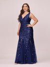 Women'S Double V-Neck Fishtail Seuqin Evening Maxi Dress-Navy Blue 4