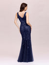 Women'S Double V-Neck Fishtail Seuqin Evening Maxi Dress-Navy Blue 2