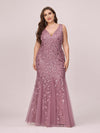 Women'S Double V-Neck Fishtail Seuqin Evening Maxi Dress-Purple Orchid 5
